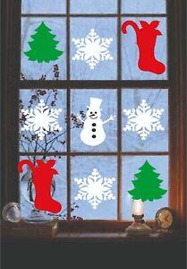 Christmas Tree stocking snowman snow flake Window Glass Bauble Sticker x 12