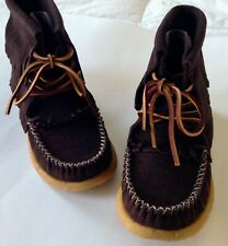 Eastland Aztec 1955 Dark Brown Authentic Suede Fringe Moccasin Ankle Boot Size 7
