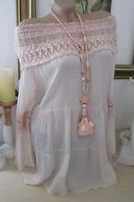 Seda blusa túnica Carmen häkel punta camisa hippie oversize Alt-rosa 36 38 40
