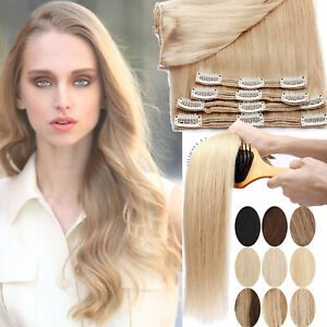 US THICK Clip In HUMAN Hair Extensions 100% Remy Hair Double Weft Full Head Long