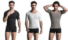 Compression Mens Muscle Fitted Athletic Shirt Base Layer Sport Gear XL Black