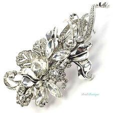 Bridal Wedding Vintage Crystal Rhinestone Silver Leaf Barrette Hair Clip CL17