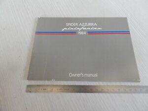 MANUALE USO MANUTENZIONE ORIGINALE PININFARINA SPIDER AZZURRA SU FIAT 124 1984