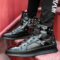 Men's Rivet Sneakers Punk High Top Hip Hop Casual Shoes Hiking Motorcycle Hai12