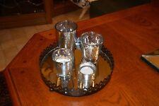 Silver Mercury Glass Tea Light Candle Garden w/Mirror Tray Pretty Home Accent