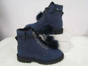 Jimmy Choo Womens EU 38.5/US 8.5 Snow Flat Heated Boot Navy/Black 069885