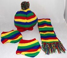 Build A Bear Scarf Mittins Hat Striped BABW Discountinued Great Condition HTF