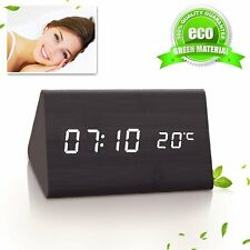 Led Desk & Shelf Wooden Alarm Clock Temperature Display