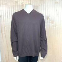 Banana Republic Men XL Sweater Brown Argyle Diamond 100% Merino Wool Knit V Neck