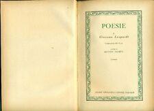 LEOPARDI Giacomo, Poesie. Volume primo delle Opere. UTET 1960