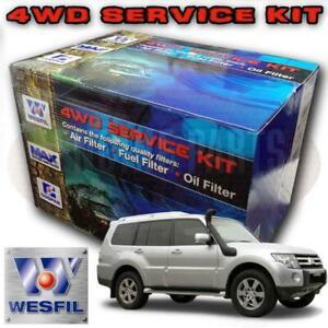 Wesfil Air/Oil/Cabin/Fuel Filter Service Kit For Mitsubishi Pajero 3 2L Di-D NS/