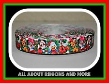 "7/8""  MICKEY AND MINNIE WITH FRIENDS CHRISTMAS GREEN GROSGRAIN RIBBON  - 1 YARD"