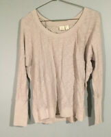 Lucy & Laurel Womens Long Sleeve Round Neck Pullover Top Shirt Gray Size S