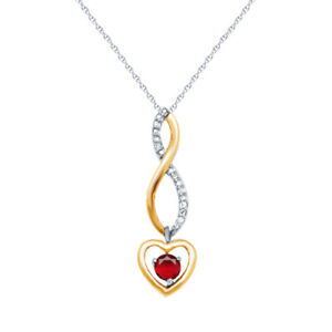 Ruby Infinity Heart Dancing Pendant 10k Yellow Gold & 925 Sterling Silver