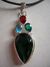 "Large Emerald Quartz Crystal 925 Sterling Silver Pendant Necklace 18""-20"""