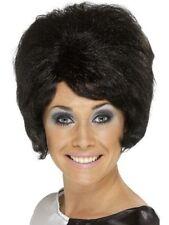 Nouveau femmes fille fantaisie robe fantaisie années 60 70's court perruque noire Ruche Moll fun