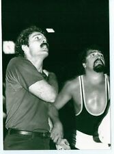 VINTAGE 5X7 PHOTO DEVIL TWIN AND REFEREE WRESTLER