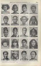 Lithografie1910: MENSCHENRASSEN. I/II. Akka Australierin Papua Maori Batak Dajak