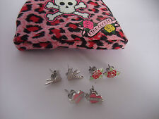 PINK COOKIE EARRING SET IN PURSE love heart, red rose, love bird NEW pierce ears
