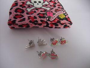 PINK COOKIE EARRING SET IN PURSE love heart, red rose, love bird NEW pierce ears