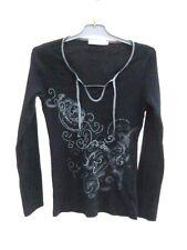 T- Shirt  Manches Longues  Noir Surpiquage Vert Cache Cache Taille 1