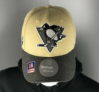 Pittsburgh Penguins Hat - Gold Reebok Center Ice Flex Fit - Two Sizes Available