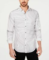 INC Mens Casual Shirt Classic White Size Medium M Scribble Button Down $65- 299
