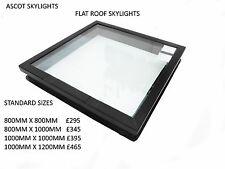 Fixed Flat Roof Skylight Glass D/G Window Large Rooflight 1000 x 1000 mm