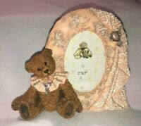 """Fancy Frame Cameo Lace Ribbon Baby Teddy Bear Lace Picture Frame 2"""" x 3"""" NURSERY"""