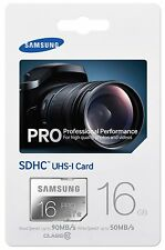 Tarjeta Memoria SD 16 GB 90 MB/s CLASE 10 Samsung PRO 4K FULL HD 16GB 32 64 128