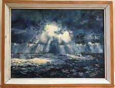 Vintage Mid Century Modern Abstract Impressionist Oil Painting Signed Framed