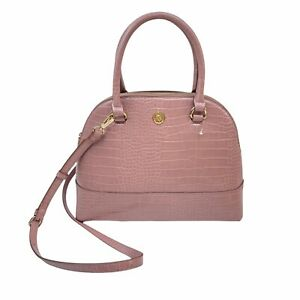 Ann Klein Triple Dome Satchel Handbag Pink Croc New With Out Tags