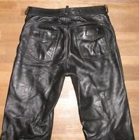 """lange """" POLO """" Herren- LEDERJEANS / Biker- Lederhose in schwarz ca. W32"""" /L34"""""""