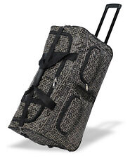 """30"""" Polyester Rolling Duffel Wheeled Luggage Suitcase Travel Duffel Bag - Coffee"""