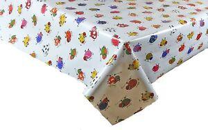 Children's Plain Pvc White Vinyl Table Cloth Multi Cows Print Wipe Clean Nursery