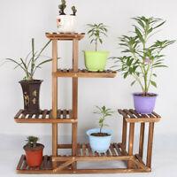 Pine Wood Plant Stand Indoor Outdoor Multiple Flower Pot Holder Shelf Rack