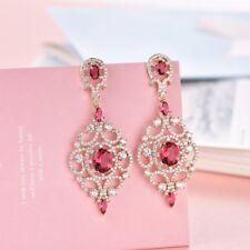 Women Red Garnet Cubic Zirconia Gemstone Vintage Wedding Chandelier Earrings