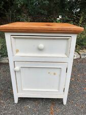 """Charming white wood end table with pine top 27"""" high x 21"""" wide x 18"""" deep"""