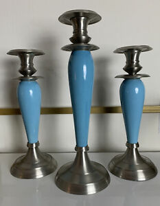 Set Of 3 Taper Candle Holders Blue Ceramic & Stainless Steel Three Hands Corp