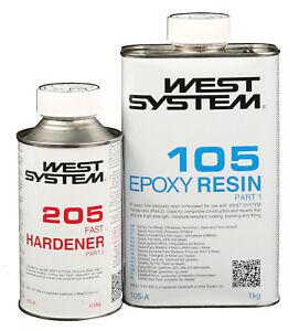 WEST SYSTEM Epoxidharz A-Pack Pack 105-205, schneller Härter Harz Bootsharz