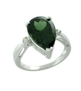 Green Apatite Gemstone 18k White Gold Ring |A Precious Gift for Her