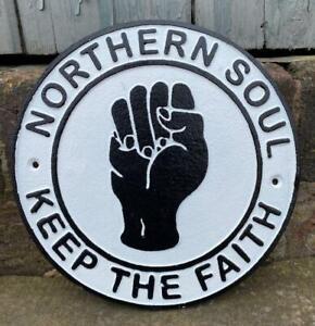 Cast Iron Wall Sign - Northern Soul - Keep the Faith - 24cm - Music & Dance