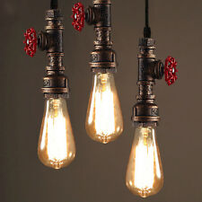Retro Water pipe Industrial Hanging Decor Ceiling Lamp Shade Pendant Light Loft