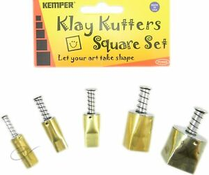 Kemper Tools Clay Dough Pattern Cutters Square Shape Cutters- Set of 5 Sizes