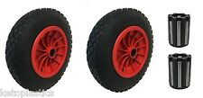 "PAIR OF 14"" PU 3.50-8 SOLID PUNCTURE PROOF WHEELBARROW WHEELS WITH 20MM BEARINGS"