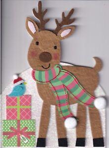 PAPYRUS CHRISTMAS CARD NIP MSRP $7.95 FELT REINDEER CARD (H3)