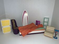 2008 Disney Hannah Montana Barbie Doll Bedroom Bed Dresser Furniture Chair Lot