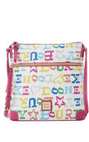 NWT.Authentic Dooney & Bourke Multi Doodle Coated Cotton Crossbody Handbag.