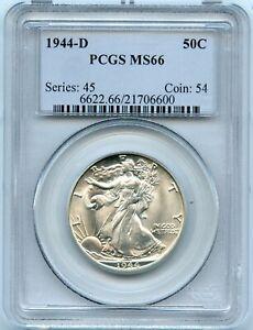 Silver 1944-D Walking Liberty 50c Half Dollar | PCGS MS66