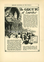 1933 Print Grotto at Lourdes Pyrenees Vintage Travel Illustration Pen and Ink